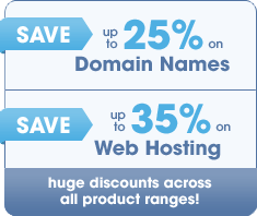 save on domain names and web hosting